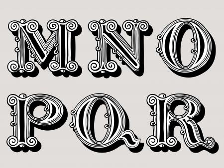 vintage: Retro vintage illustratie van alfabet letters in caps, de M, N, O, P, Q en R in de Antiqua ontwerp in zwart en wit op een sepia achtergrond