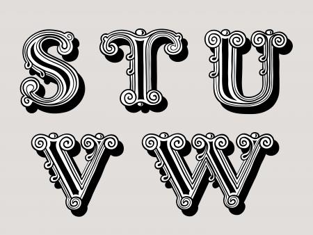 lettre s: Rétro illustration vintage de lettres de l'alphabet en majuscules, le S, T, U, V, W dans la conception antiqua en noir et blanc sur un fond sépia