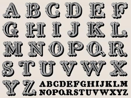 Retro illustration of a complete retro styled alphabet in caps, vintage illustration