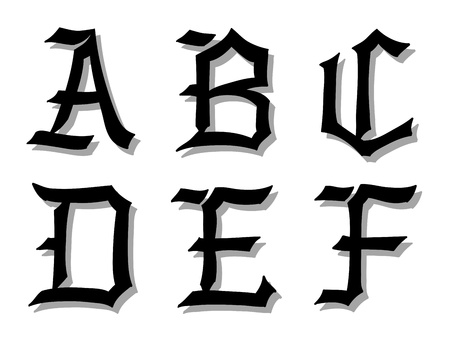 illustration of Gothic alphabet letters in caps, written in black, A, B, C, D, E, F illustration