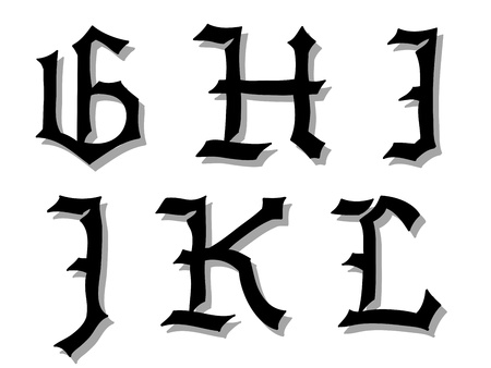 illustration of Gothic alphabet letters in caps, written in black, G, H, I, J, K, L illustration
