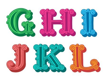 linguistics: Doodle of retro Antiqua alphabet letters in caps, G, H, I, J, K, L
