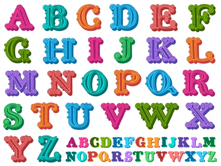 linguistics: doodle of a complete retro styled alphabet in caps, written with colorful tones Stock Photo