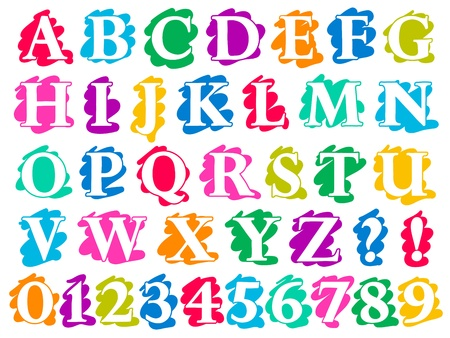 Colour doodle splash alphabet letters and digits complete in uppercase with white lettering each on a different single colour splash background, illustration isolated on white illustration
