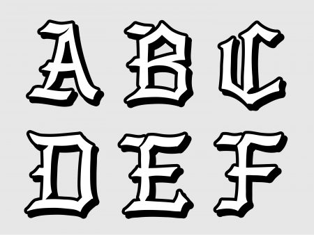 serif: Doodle illustration of Gothic alphabet letters outline in caps, written in black, A, B, C, D, E, F