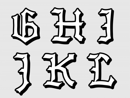 Doodle illustration of Gothic alphabet letters outline in caps, written in black, G, H, I, J, K, L illustration