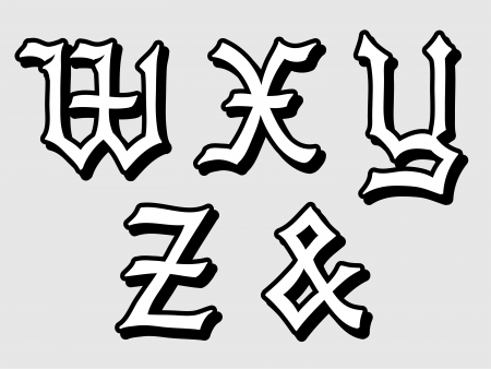 Doodle illustration of Gothic alphabet letters outline in caps, written in black, W, X, Y, Z, ampersand illustration