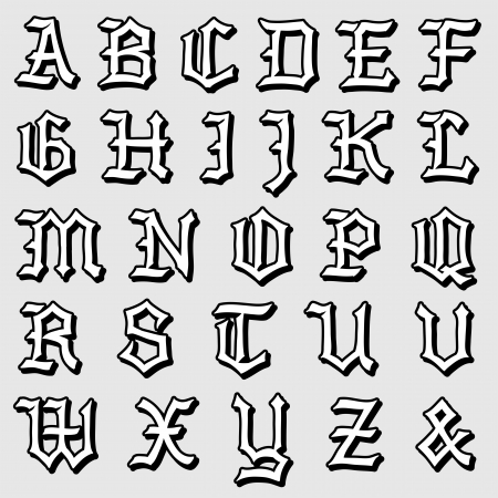 Doodle illustration of a complete Gothic alphabet in caps, written in black illustration