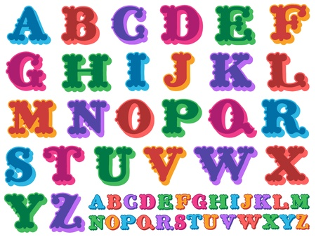 serif: illustration of a colorful complete antiqua alphabet in caps over a white background Stock Photo