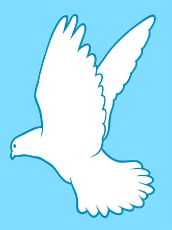 outspread: Drawing of a beautiful graceful white dove isolated on turquoise blue Stock Photo