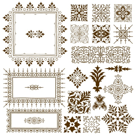 calligraphic design elements: Collection of different ornate vintage calligraphic design elements of classical symmetrical vintage filigree ornament designs