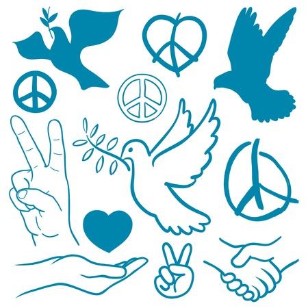 simbolo de la paz: Colección de la paz y el amor tema de iconos con las palomas blancas volando llevando ramos de olivo, gesto v-muestra de la mano, apretón de manos de la amistad, corazones, una mano ahuecada crianza y v-icono de la muestra contra la guerra Foto de archivo
