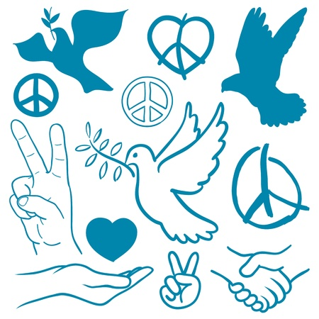 dove of peace: Collection of peace and love themed icons with white doves flying carrying olive branches, v-sign hand gesture, handshake of friendship, hearts, a cupped nurturing hand and v-sign antiwar icon