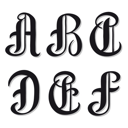 serif: Uppercase set of alphabet letters A, B, C, D, E, F in round vintage serif characters,illustration isolated on white