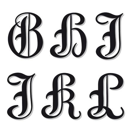 Populaire Majuscules Lettres De L'alphabet Gothique A, B, C, D, E, F Dans Un  HW77