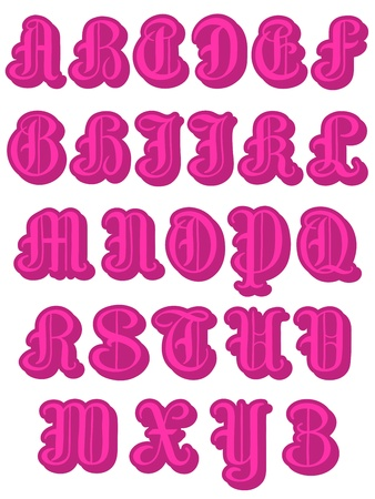s m: Decorative font with a complete alphabet in a trendy hot pink round capitals with serif isolated on a white background