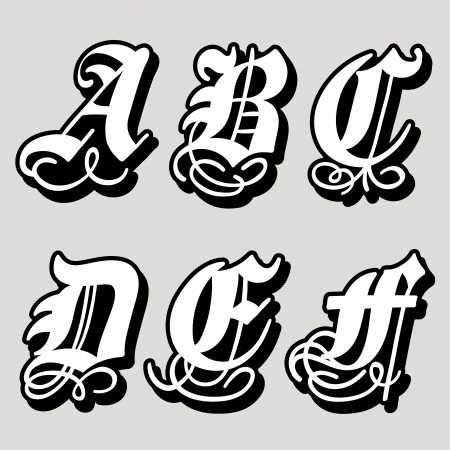 Top Uppercase Gothic Alphabet Letters A, B, C, D, E, F In A Bold  AD64
