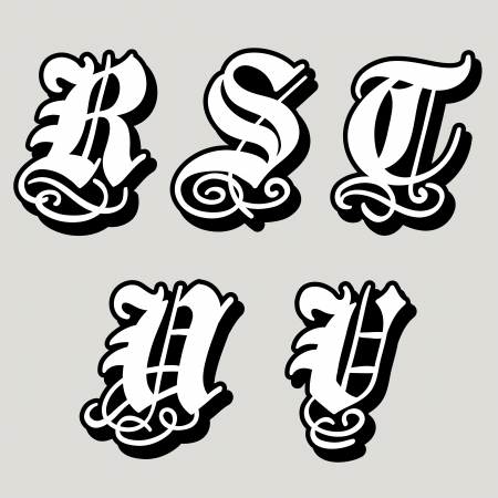 Uppercase Gothic alphabet letters r, s, t, u, v in a bold black doodle with ornamental swirls and flourishes,  illustration isolated on white illustration