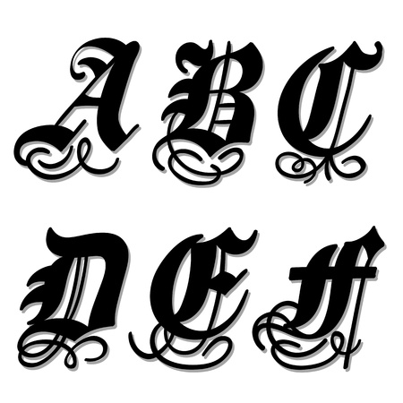 bold: Uppercase Gothic alphabet letters a, b, c, d, e, f in a bold black doodle with ornamental swirls and flourishes, illustration isolated on white