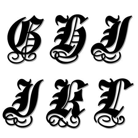 Uppercase Gothic alphabet letters g, h, i, j, k, l in a bold black doodle with ornamental swirls and flourishes, illustration isolated on white illustration