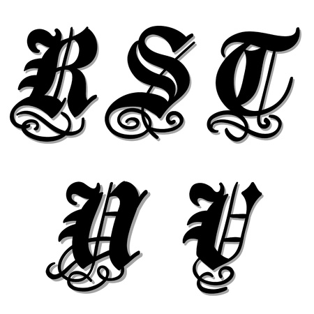 uppercase: Uppercase Gothic alphabet letters r, s, t, u, v in a bold black doodle with ornamental swirls and flourishes, illustration isolated on white