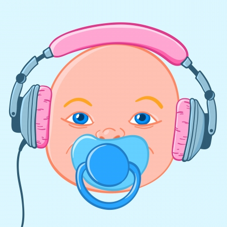 soothing: Blue eyed baby head with earphones headphones and pacifier