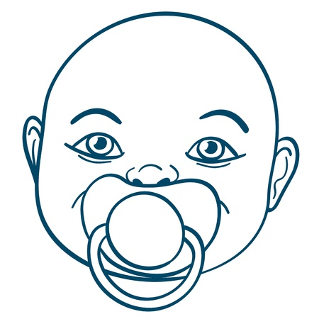 teat: Doodle illustration of the face of a newborn baby sucking a rubber or silicone pacifier or comforter to chew on during teething Stock Photo