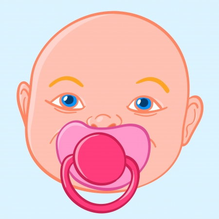 teat: Doodle illustration of the face of a newboen baby sucking a rubber or silicone pacifier or comforter to chew on during teething
