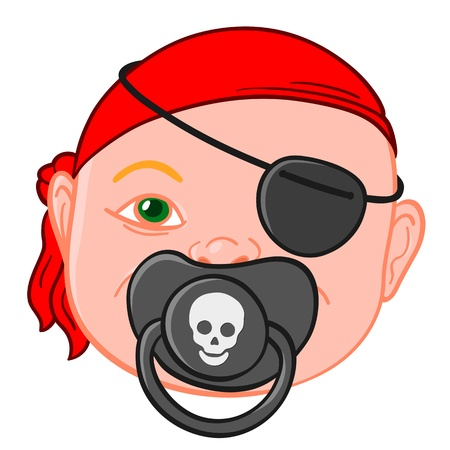 Baby head wearing a red bandanna with a pirate pacifier bearing a picture of a skull symbolic of piracy and buccaneers, illustration Stock Photo