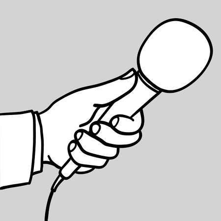 commentator: Man wearing a suit holding out a microphone for a response during an interview conceptual of a compeer, reporter, journalist, talk show host or commentator, doodle illustration