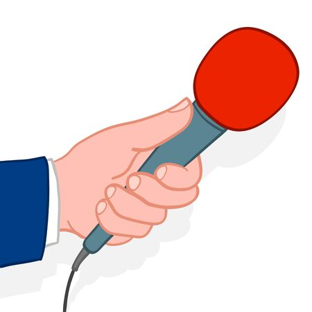 commentator: Man wearing a suit holding out a microphone for a response during an interview conceptual of a compere, reporter, journalist, talk show host or commentator, doodle illustration