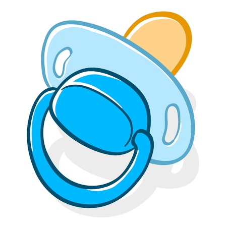 teat: illustration of a rubber or silicone cartoon pacifier, dummy or comforter used by a newborn baby to suck or chew on during teething