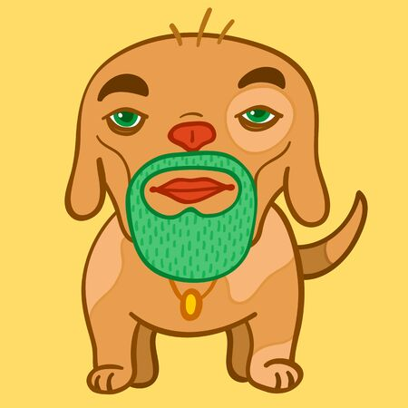 Strange dog with human head and beard photo
