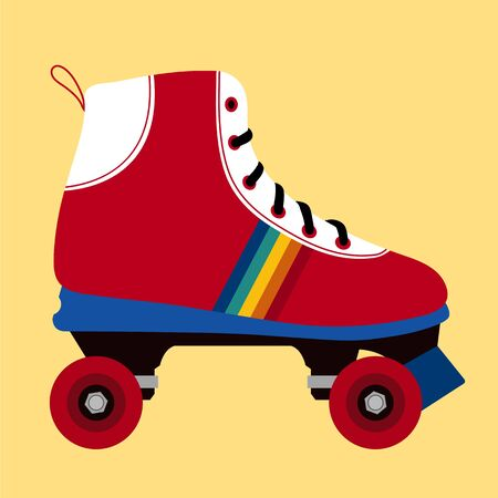 casters: Illustration of a white and red skating shoe on yellow background  Stock Photo