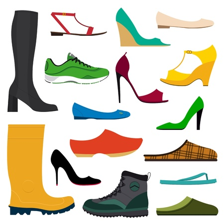 shoe: Illustration of a collection of various shoes on white background