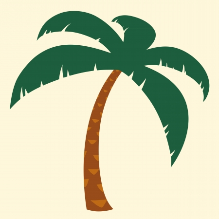 coconut leaf: Silhouette illustration of tropical palm tree with crown of green fronds symbolic of a tropical vacation and summer travel
