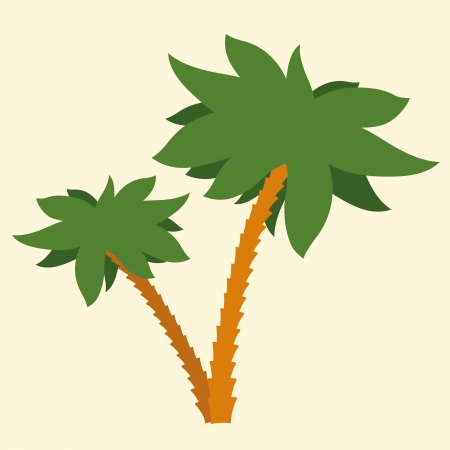 Silhouette Illustration Of Two Tropical Palm Trees With Crowns