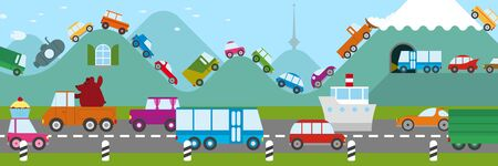 road tunnel: Cartoon illustration of a traffic jam in a freeway and along the