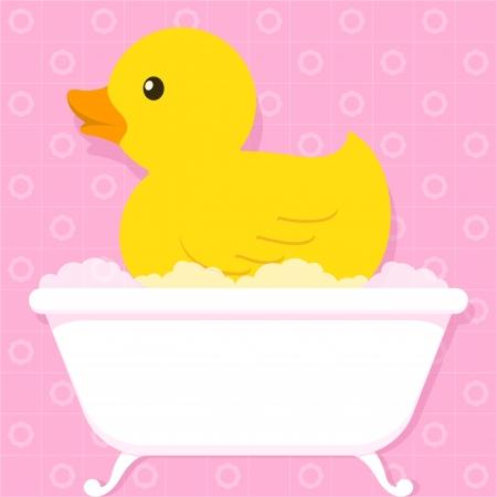 ducky: Cute little yellow duck floating in an old retro style bathtub with soapy bubbles over a pink tiled bathroom background, cartoon illustration