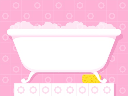 plinth: Illustration of a stylish white vintage style bathtub on raised feet filled with soapy bubbles standing on a tiled plinth in a pretty pink bathroom