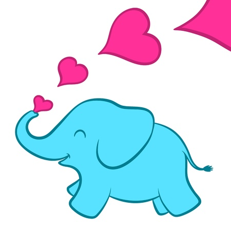 siluetas de elefantes: Ilustración de la historieta de un bebé azul cría de elefante de color turquesa con una serie de románticos corazones rosas que salen del tronco de una tarjeta de felicitación de San Valentín lindo, aislado en blanco