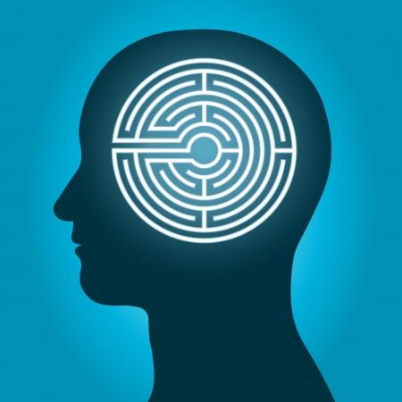 인간의 뇌의 복잡성의 개념 안에 미로와 남성 머리 실루엣 스톡 콘텐츠