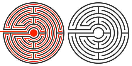 solved maze puzzle: unsolved labyrinth puzzle and the second showing the route and solution completed in red