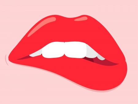 labios sexy: Mujer que muerde sus labios en un gesto sensual, en la indecisión o pensando profundamente, ilustración de dibujos animados con los labios rojos atractivos