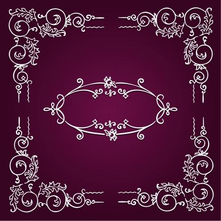 Ornamental white rectangular border frame on dark magenta background photo