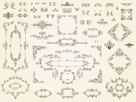 surround: Collection of elegant calligraphic filigree ornament elements in multiple designs in classical antique style