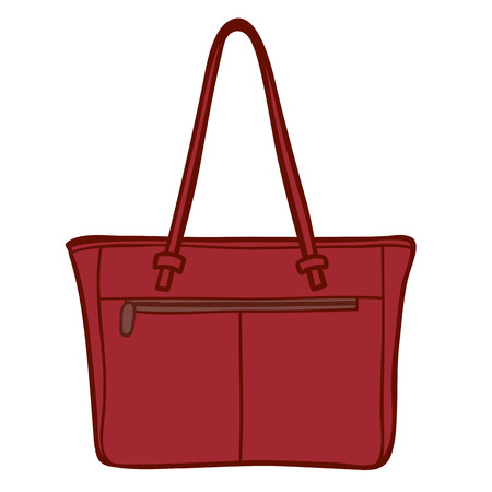 carryall: Cartoon illustration of a classic style ladies leather handbag with a handle and zipper isolated on white Stock Photo