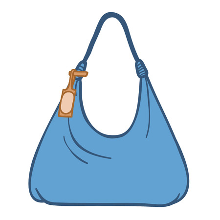 supple: Cartoon silhouette illustration of a supple blue ladies textile handbag with a handle and attached tag isolated on white Stock Photo