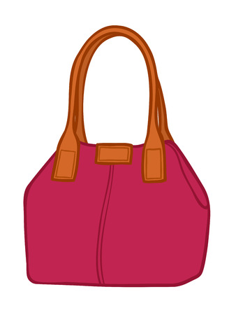 carryall: Cartoon illustration of a classical elegant magenta womans leather handbag or purse with handles isolated on white