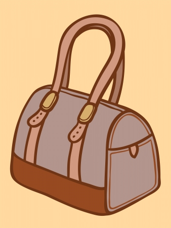buckles: Cartoon illustration of a stylish ladies handbag with handles, straps and metallic buckles or ornamentation